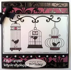 Made for Crafts Beautiful Magazine using Stampin Up Aviary Stamp Set.  More info on my blog - http://kittyskrafty.blogspot.co.uk/2014/01/birds-birdcages.html