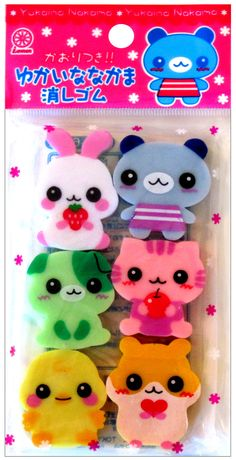 Lemon Japan Scented Animal Kawaii Eraser Set http://shop.kawaiidepot.com