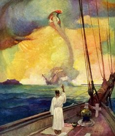 """The waterspout was dissolving again and now it swam up . like a gigantic Serpent. Illustration by Frank E. Schoonover for """"Yankee Ships in Pirate Waters"""" Vintage Illustration Art, Fantasy Illustration, Character Illustration, Edmund Dulac, Nc Wyeth, Howard Pyle, Soul Art, Inspirational Artwork, Traditional Paintings"""