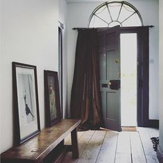 Farrow and ball wimborne white and downpipe Farrow Ball, Dark Wood Floors Living Room, Wimborne White, Wooden Front Doors, Door Curtains, Hallway Decorating, Elle Decor, Decoration, House Design