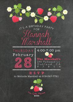 Chalkboard and Strawberry Birthday Party Invitation by Klutzybug