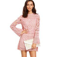 Rose Lace Mini Dress