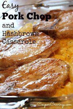 5 bonein pork chops 1 T oil 1 c sour cream 10 34 oz can cream of chicken condensed soup 12 c milk 32 oz pkg frozen hashbrowns 1 c onion chopped 1 c shredded c. Hashbrown Casserole Recipe, Dinner Casserole Recipes, Hash Brown Casserole, Potato Casserole, Pork Chop Casserole, Breakfast Casserole, Pork Chop Potato Bake Recipe, Bone In Porkchop Recipes, Gastronomia