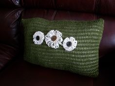 Olive Knit Pillow with White Flowers — Erin Brie Art