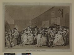 """""""The Lobby Loungers"""" showing people gathered in the foyer at Covent Garden theatre. The year: 1786. Rowlandson."""