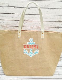 Monogrammed Natural Jute Tote Bag with Anchor Applique on Etsy, $24.34 CAD