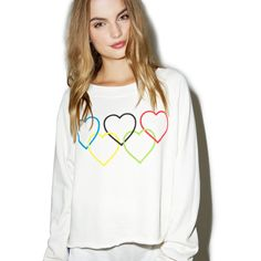 Wildfox Couture Olympic Hearts Sweatshirt ($98) ❤ liked on Polyvore featuring tops, hoodies, sweatshirts, long sleeve pullover, white top, graphic pullover sweatshirts, graphic tops and graphic pullover