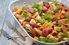 A huge LABOR DAY barbecue or braai signals the official end of the summer. Roasted Vegetables, Veggies, Cooking Recipes, Healthy Recipes, Fruit Salad, Barbecue, Cantaloupe, Sage, Side Dishes