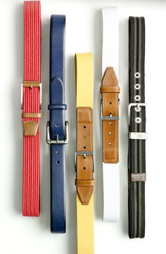 """A colorful belt is a cool way to update what you already have. Choose one that looks good with the other colors in your outfit but doesn't match your shoes."" -Dennis Gaffney, Nordstrom Men's Buyer"