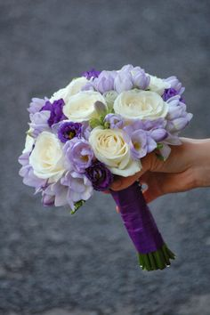 I just love purple and lavender bouquets! Love the wrap too.