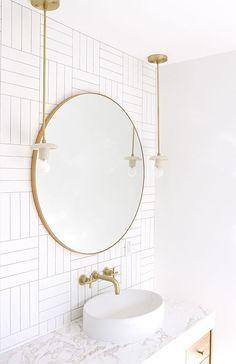 Bathroom Renovaiton // Sarah sherman samuel x cedar and moss pendant #bathroom #modernbathroom #goldaccents