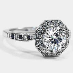 18K White Gold Victorian Halo Diamond Ring // Set with a 1.23 Carat, Round, Super Ideal Cut, J Color, VS2 Clarity Diamond #BrilliantEarth