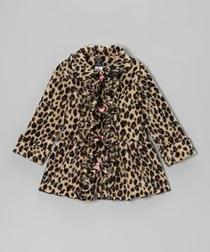 Take a look at this Leopard Ruffle Coat - Infant, Toddler & Girls by Mack & Co on #zulily today!
