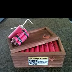 Creative way to give money. $20 in rolled pennies made to look like a crate of dynamite.