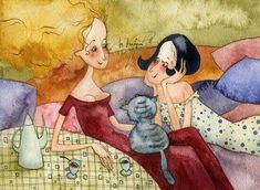 Women Chatting by Victoria Kirdiy Art And Illustration, Book Illustrations, Pretty Drawings, Man And Dog, Coffee Art, Calligraphy Art, Artist Art, Cat Art, Victoria