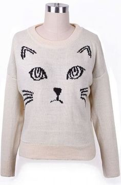Kitty! - www.SheInside.com - Shown: Beige Abstract Cat Pattern Batwing Sleeve Sweater $24.84 (Cheap! ! !) Cat Sweaters, Cat Pattern, Batwing Sleeve, Bat Wings, Beautiful Dresses, What To Wear, Pants For Women, Cute Outfits, Skinny Jeans