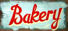 This retro Bakery Diner style sign is based on a 1950s original. We start each piece by painting on reclaimed wood. We then reproduce the work by