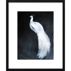 A sweeping white peacock anchors a subtly fading black fore in this print of a painting by Christine Lindstrom for Mercer41.