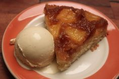 Pineapple upside down cake and toasted coconut ice cream