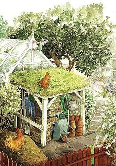 Isn't this the garden shed of our dreams--a greenhouse-lots of pots-chickens on the roof and fairies in the eaves.........