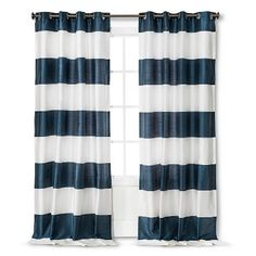 """Threshold™ Bold Stripe Curtain Panel- possible curtain, 95"""" in """"teal"""""""