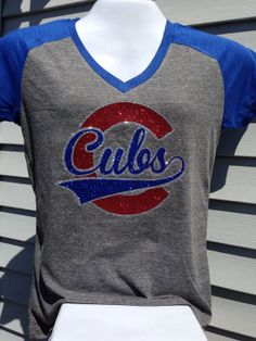 Super Sparkle! Heather Gray/Royal Contrast Ladies CUBS GLITTER T-shirt on Etsy, $30.00