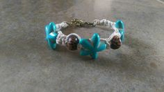 Hemp Bracelet, Ocean Love Starfish, Turquoise Starfish, Wooden Beads, Adjustable, Gift for Her, Natural Jewelry, Free Shipping in USA