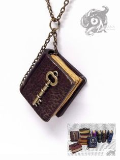 The Arkana Library - handmade polymer clay 3cm book pendant - steampunk metal key on cover - requires OWN chain - Alexandra Howard