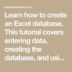 Learn how to create an Excel database. This tutorial covers entering data, creating the database, and using the built in sorting and filter tools.