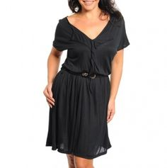 Plus V-Neck Cascading Ruffle Belted Dress...cute for work.