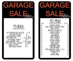Garage Sale Scavenger Hunt