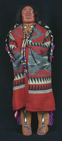 Composition doll, man, Skookum, Native American, red blanket garment, USA, Tammen Co.,1920-1940