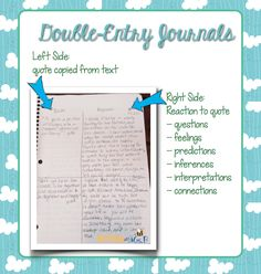 Responding to Reading: Double-Entry Journals* Freebie! Students learn how to interact with text using a variety of strategies. Readers Notebook, Readers Workshop, Double Entry Journal, Reading Response Journals, Reading Notebooks, Teaching Reading, Reading Lessons, Reading Activities, Guided Reading