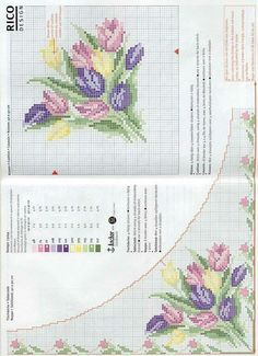 Tulip bunch corner motif