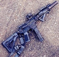 AR supressed Magpul)l Weapons Guns, Military Weapons, Guns And Ammo, Military Life, Airsoft, Rifles, Ar Pistol, Submachine Gun, Assault Rifle
