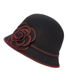 4b2a563b7fd Loving this Black Floral-Accent Wool Cloche on