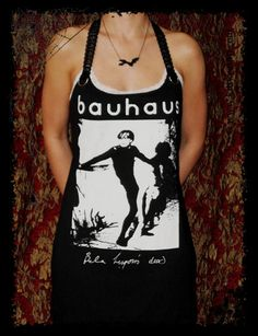 Bauhaus Bela Lugosi Gothic Darkwave 80s Rock Halter shirt Mini Dress M. $39.99, via Etsy.