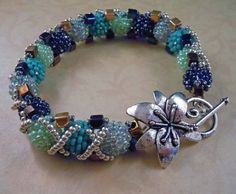 Beaded Seed Bead Bracelet Blue Green by onebeadtwobead on Etsy, $80.00