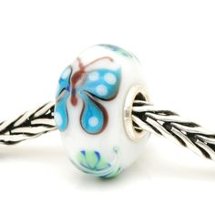 TBU4585R trollbeads Unique/OOAK glass bead (trollbeadsheaven) #butterfly #rare #blue #whitespotted