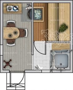 Баня 4.0*4.0 Б-150 - цена: 303 750 руб., характеристики, планировка, комплектации, срок строительства   бани серии 1 этаж