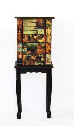 Standing Jewelry Armoire Decoupage Angels and Cherubs by Mosaicus, $195.00
