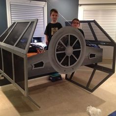 Check out this project on RYOBI Nation - My 7 year old son loves Star Wars. We moved into a new home, so I wanted to make his bedroom special. After several sketches, I came up with the design and drew it out. I used my first Ryobi tool on the project, and surprised everyone I know with the results. I've never done anything like this before, so I learned quite a bit along the way. I'm looking forward to many other projects! The bed is suspended by cables, and anchored to the wall for add...