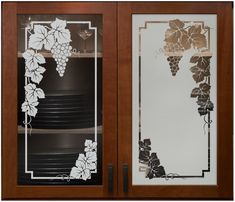 Vineyard Grapes Cabinet Glass - Sans Soucie.  Shown here in both Positive and Negative sandblast.