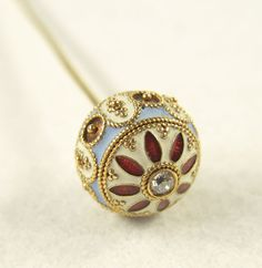 ANTIQUE SOLID GOLD DIAMOND ENAMEL HAT STICK  PIN