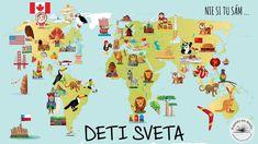 Cartoon map of World Wallpaper World Wallpaper, France Wallpaper, Childrens Wall Murals, People Illustration, Egypt, Mexico, Africa, Japan, Kids