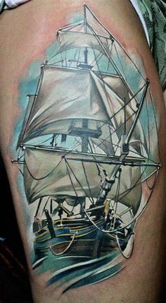 http://tattoomagz.com/see-and-ships-tattoos/simple-blue-ship-tattoo/