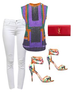 Alejandra G. Gia Orange by alejandragshoes on Polyvore featuring polyvore, fashion, style, Balmain, J Brand and Yves Saint Laurent