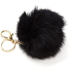 Fuzz Ball Fur Keychain BLACK (Final Sale) ($7.50) ❤ liked on Polyvore featuring accessories, black, ring key chain, fob key chain, fur key ring, locking key ring and key chain rings