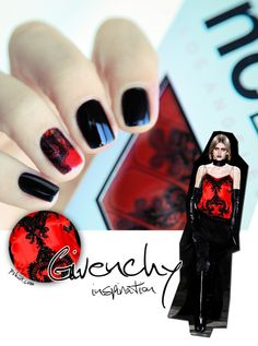Nail art Givenchy Inspiration - you can recreate the look with our lace nail foils >>> http://www.riobeauty.co.uk/nails/nail-art/nail-art/lace-nail-foils.html