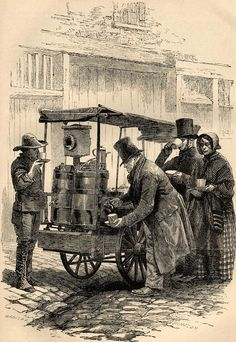 """The London Coffee Stall"" - Illustration from Henry Mayhew's ""London Labour & London Poor"" (1851-1865): ""I was a mason's labourer, a smith's labourer, a plasterer's labourer, or a bricklayer's labourer. I was for six months without any employment. I did not know which way to keep my wife and child. Many said they wouldn't do such a thing as keep a coffee stall, but I said I'd do anything to get a bit of bread honestly."""